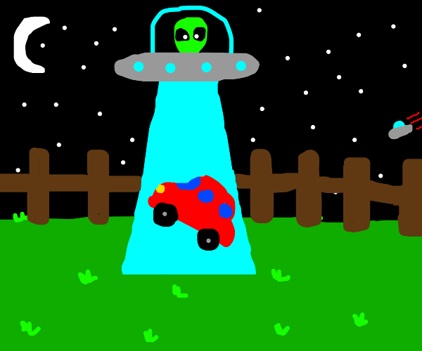 Alien abducts a car