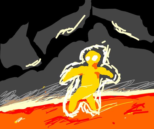 guy standing on lava