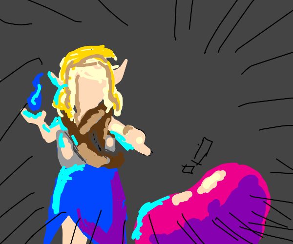 An elf challenging a pink slime in a fight