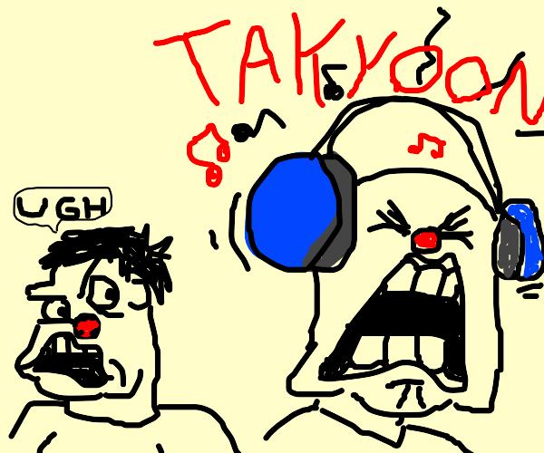 man concerned cuz people enjoy music