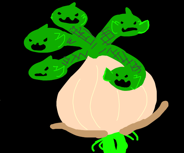 a hydra with the body of an onion