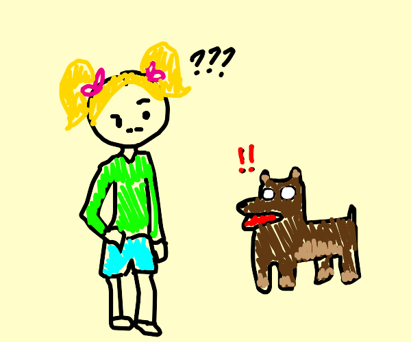 Confused girl and alarmed dog