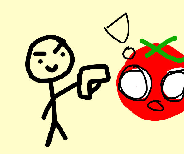 Guy shoots a very shocked tomato with his gun