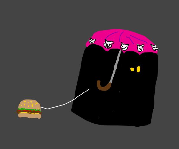 man walks his hamburger on leash