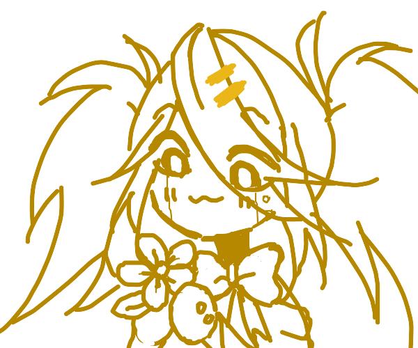 robot oc holds flower