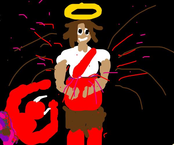 Devil explodes out of god
