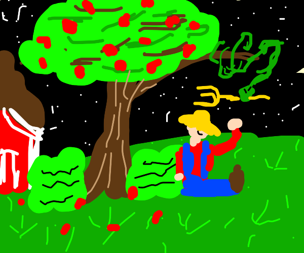 Snake on a tree gives farmer a pitchfork