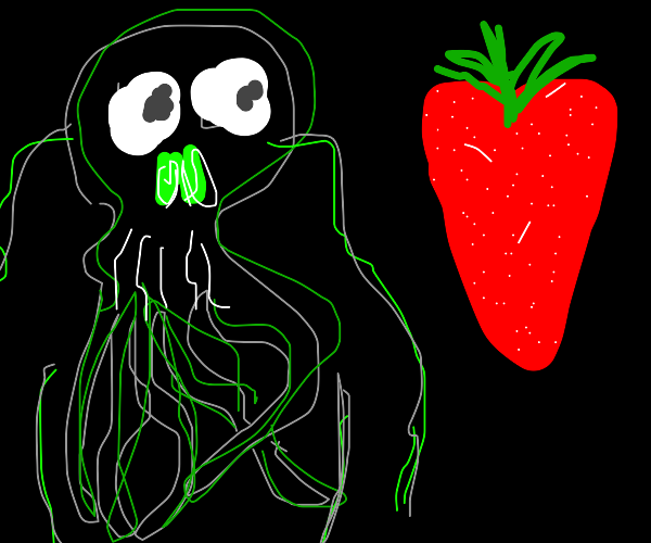 cthulhu eats a strawberry