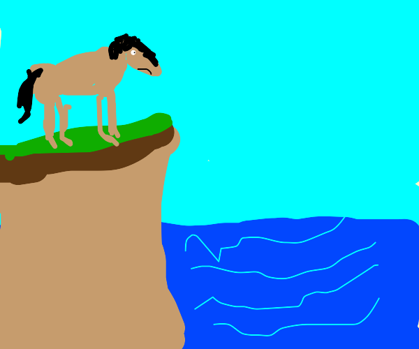 horse looking at the sea being depressed