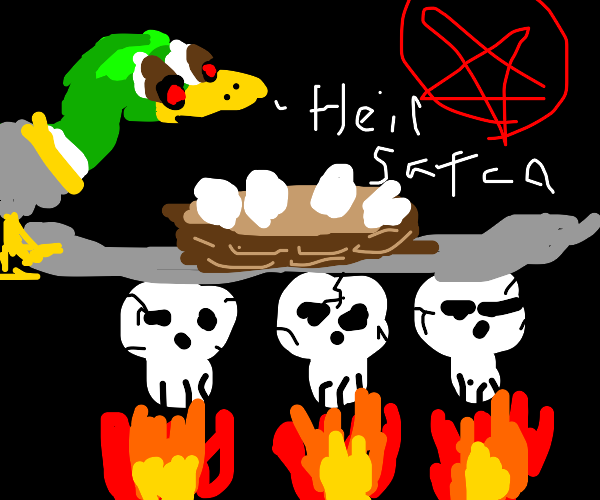 Duck nesting on the souls of the damned.