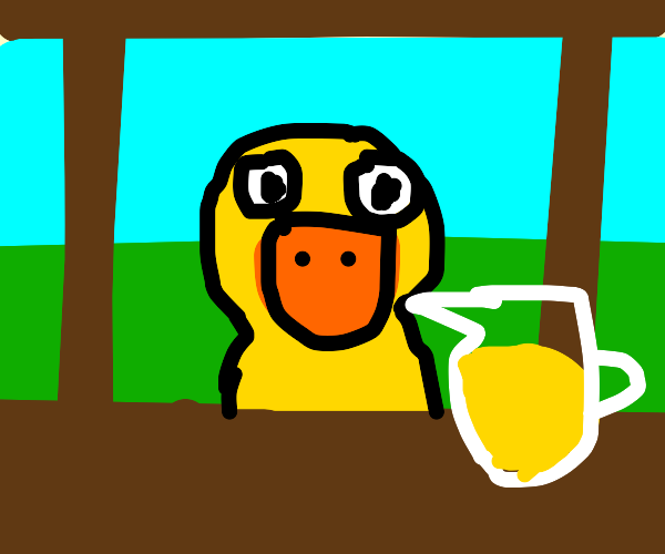 Pov: a duck approaches your Lemonade Stand