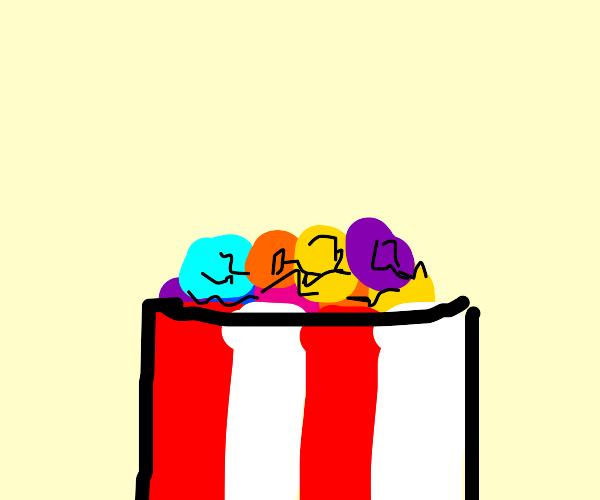 Multi colored popcorn