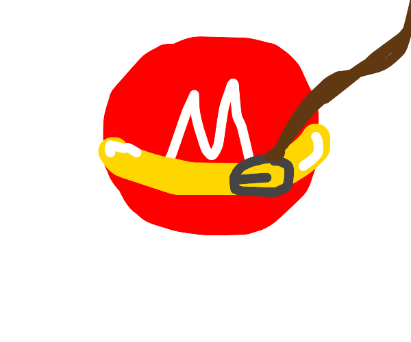 Red M&M with a gold collar