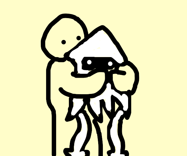 a person hugging a squid