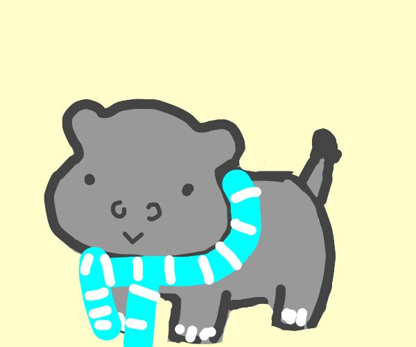 Tiny hippo with scarf