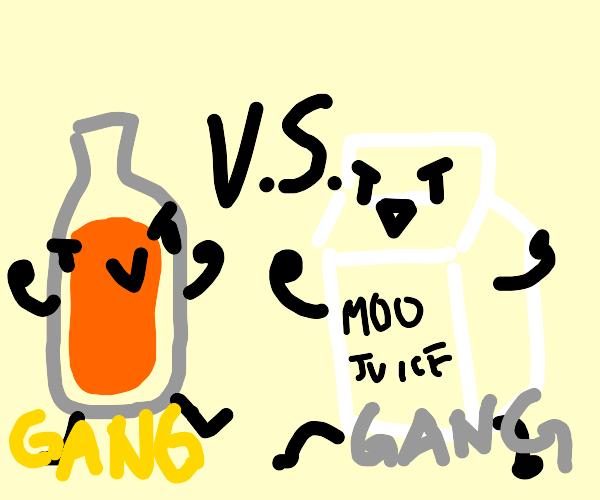 milk gang vs. orange juice gang