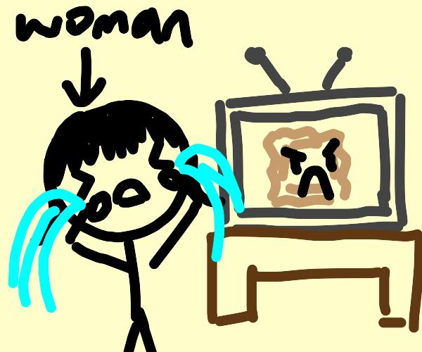 Woman upset by angry ravioli on TV