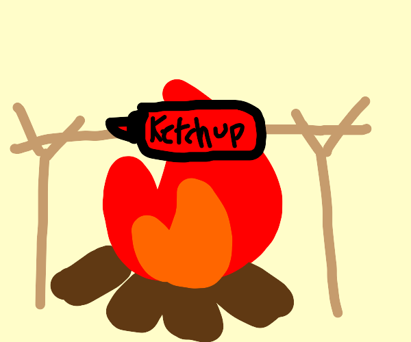 Ketchup cooking over a campfire