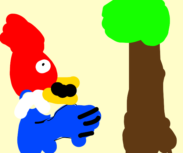 shocked woodpecker pointing at tree
