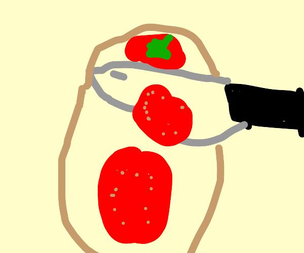 Cutting fruit on a cutting board