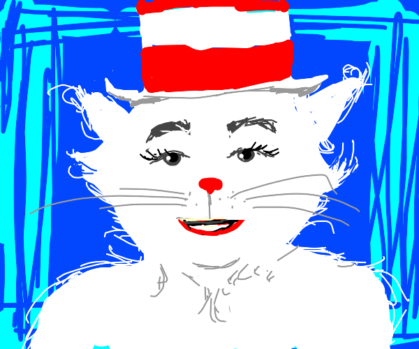 The cat in the hat with his fur bleached
