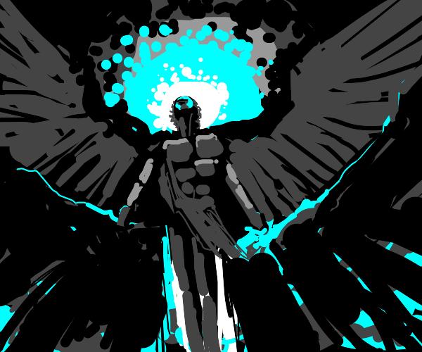 Angel wearing metal outfit