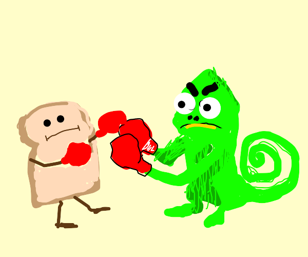 toast and lizard get in a fight
