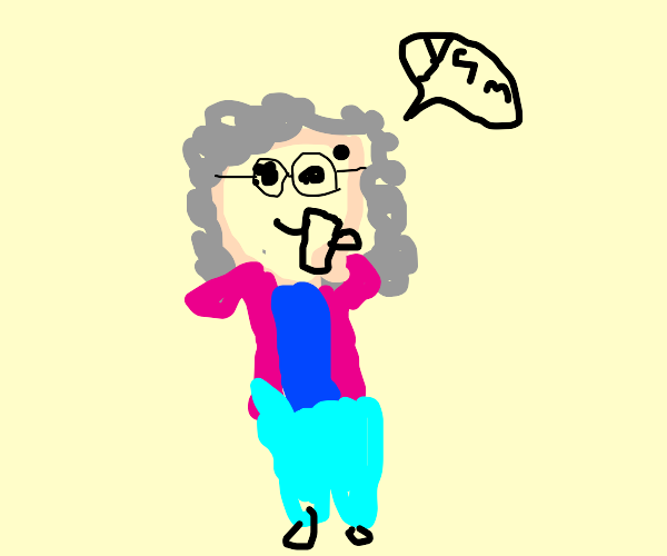 Granny drinking coffee