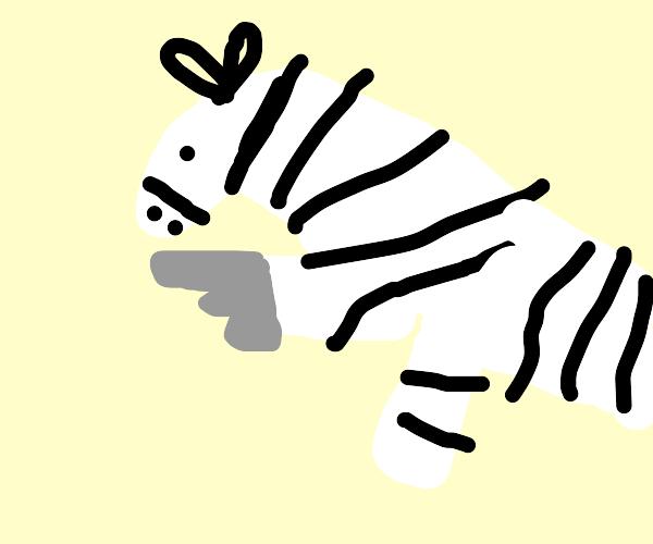Zebra with a gun