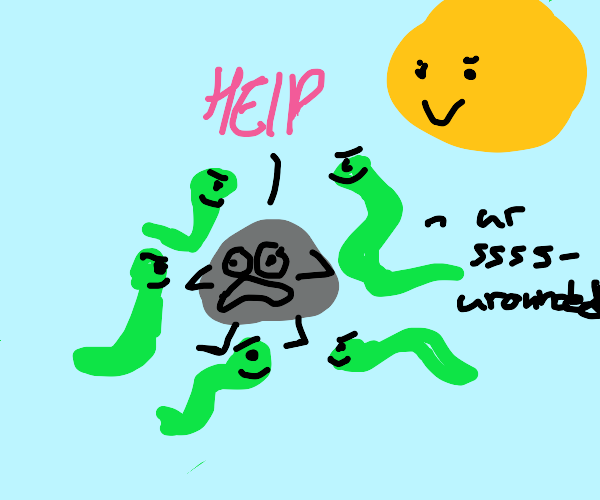 Rock pleads for Halp, surrounded by snakes