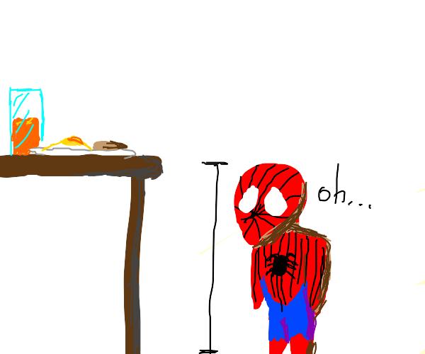 spiderman too short to eat breakfast