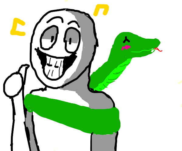 Man and snake are buddies