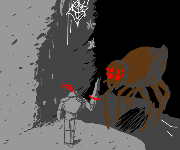 warrior about to slay a giant spider