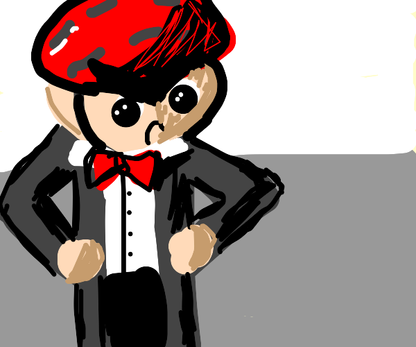angry man in a suit with a helmet