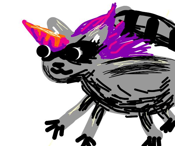 A majestic unicorn raccoon
