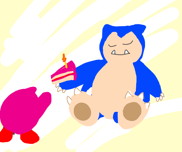 Snorlax gives Kirby last slice of cake
