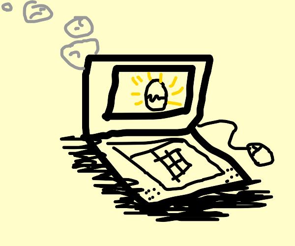 Smoking laptop displays an egg