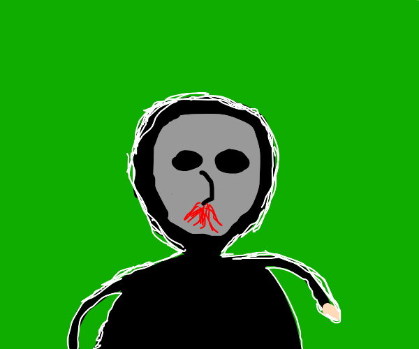 masked man bleeding