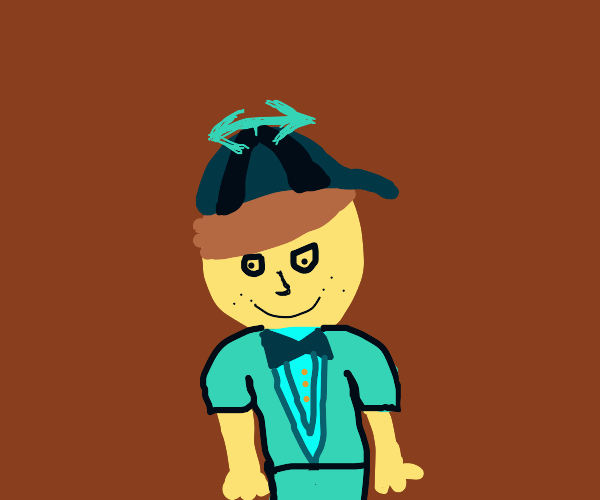 Confident man with a propeller hat