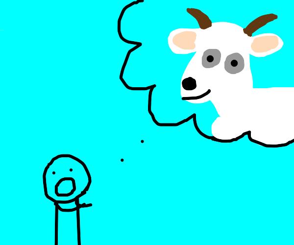 man praising a goat god
