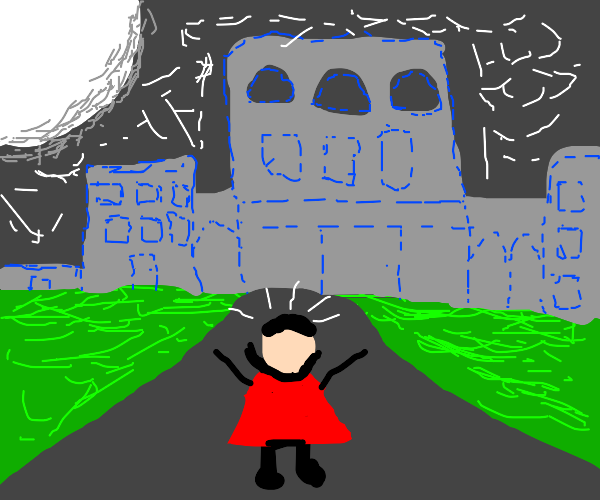 vampire stands in front of palace