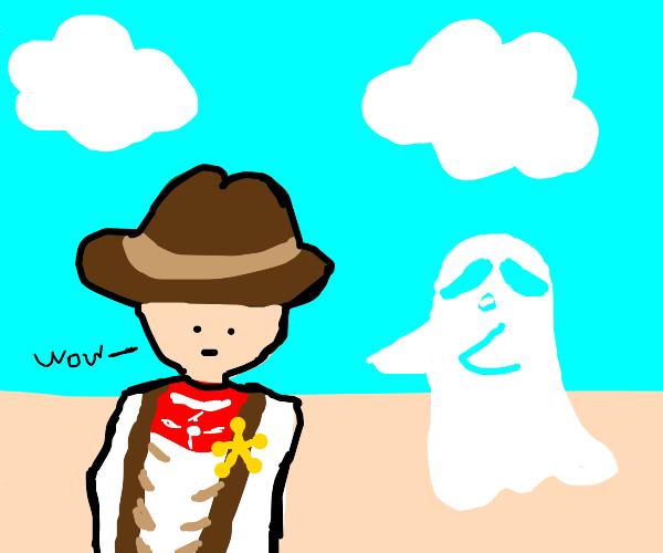 Cowboy impressed by ghost