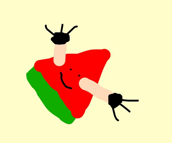 Watermelon wearing Gloves