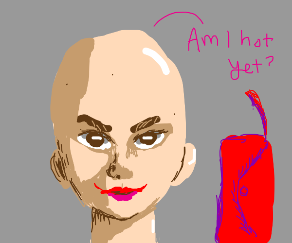 Bald woman with a purse asks if she's hot yet