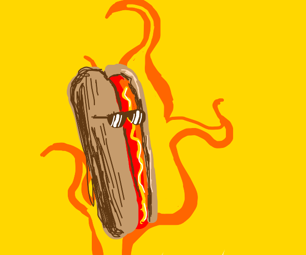 Flaming hot dog