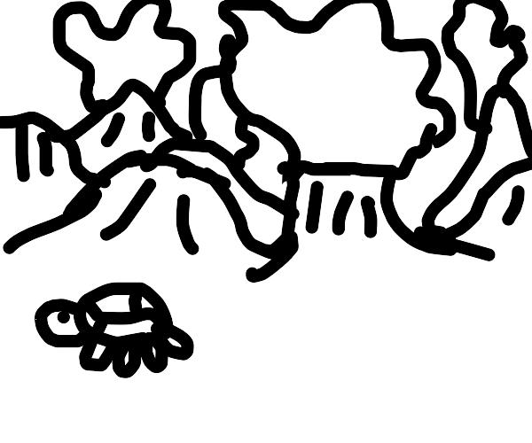 Turtle running away from volcano eruption