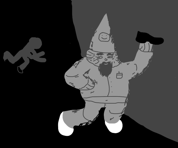 Gnome snatches shoe from guy