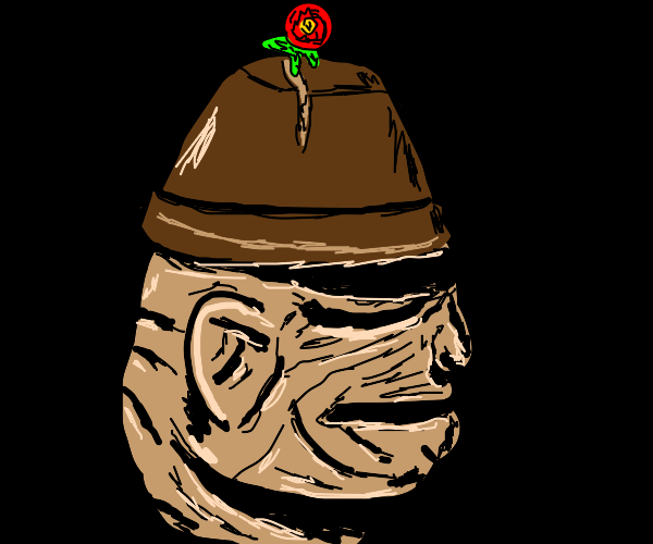 Person with a flower pot head