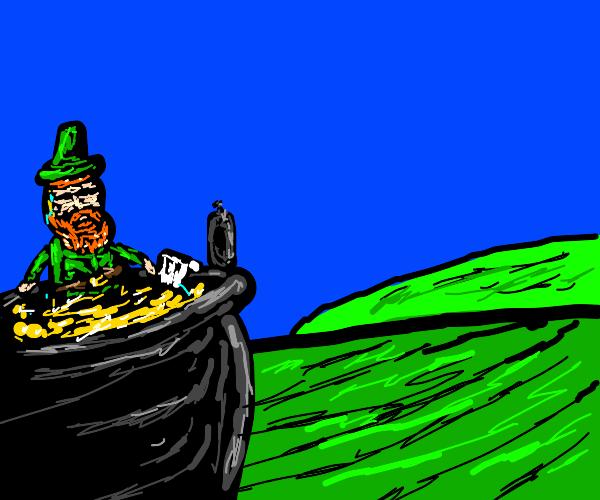 Leprechaun bathing in a pot of gold