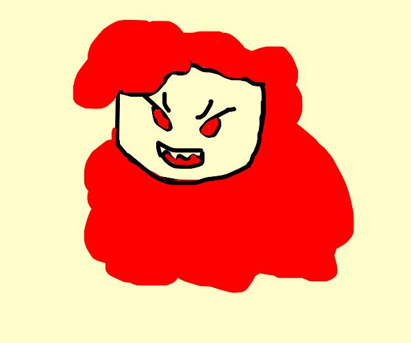 woman with murderous look and creepy teeth